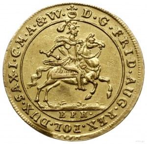 dukat 1702, Lipsk; Aw: Król na koniu w zbroi i hełmie z...