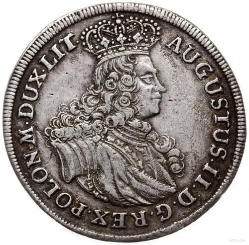 talar 1702 EPH, Lipsk; Aw: Popiersie króla i napis; Rw:...