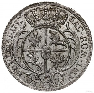 dwuzłotówka (8 groszy) 1753, Lipsk; mniejsze popiersie ...