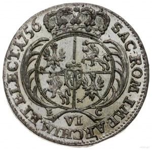 szóstak 1756, Lipsk; szerokie popiersie króla, obie kor...