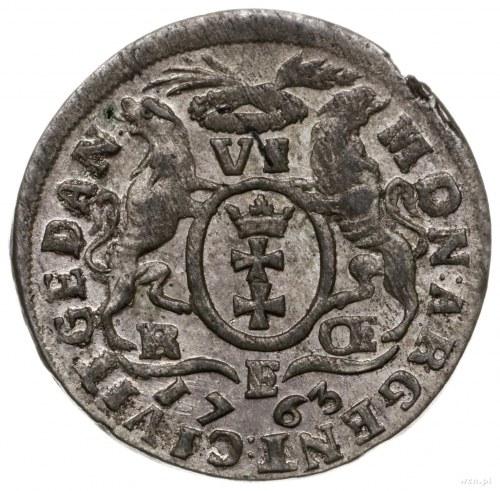 szóstak 1763, Gdańsk; odmiana z literą E dzielącą datę;...
