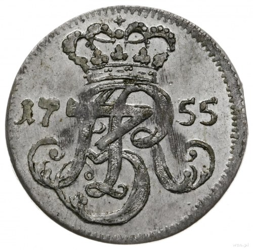 trojak 1755, Gdańsk; pod herbem Gdańska cyfra III, wari...