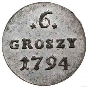 6 groszy 1794, Warszawa; Plage 207; pięknie zachowane z...