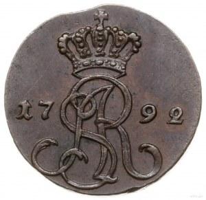 grosz 1792 MV, Warszawa; na awersie korona wysoko nad m...
