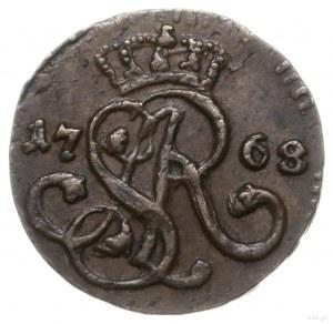 szeląg 1768 G, Kraków; dużej wielkości monogram, litery...
