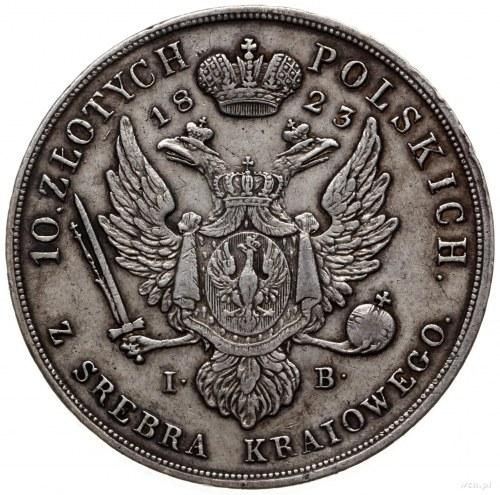 10 złotych 1823 IB, Warszawa; Aw: Głowa cara w prawo i ...