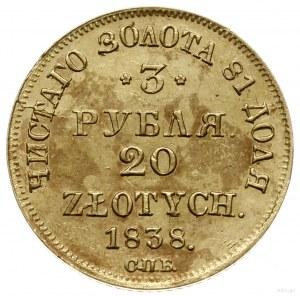 3 ruble = 20 złotych 1838 ПД / СПБ, Petersburg; Berezow...