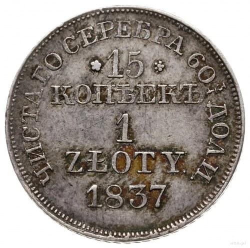 15 kopiejek = 1 złoty 1837 MW, Warszawa; wariant z wąsk...