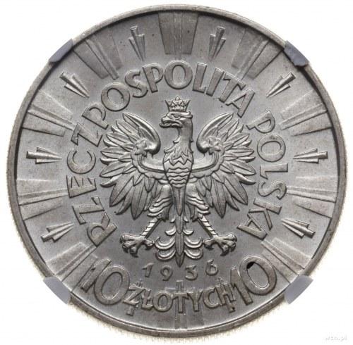 10 złotych 1936, Warszawa; Józef Piłsudski; Parchimowic...