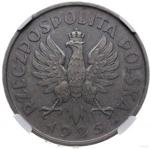 5 złotych 1925, Warszawa; Konstytucja; Aw: Orzeł i w ot...