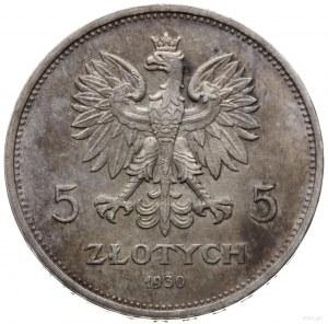 5 złotych 1930, Warszawa; sztandar - 100-lecie Powstani...