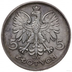 5 złotych 1927, Warszawa; Nike, na rewersie wypukły nap...