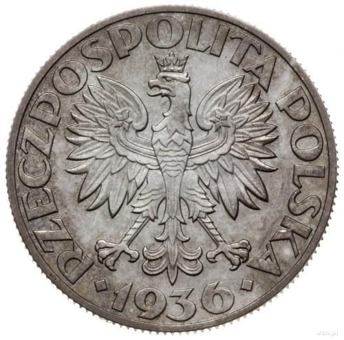 5 złotych 1936, Warszawa; żaglowiec, wypukły napis PRÓB...