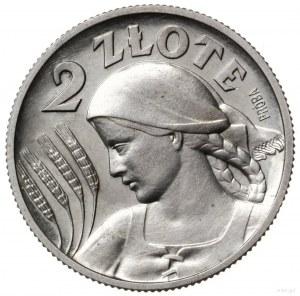 2 złote 1927, Warszawa; popiersie kobiety z kłosami, na...