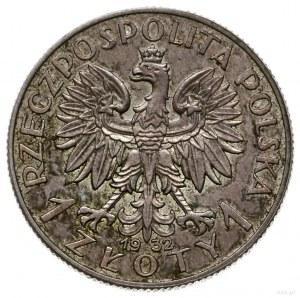 1 złoty 1932, Warszawa; głowa kobiety w czepcu, na rewe...