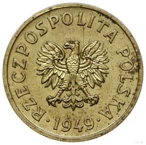 50 groszy 1949, Warszawa; nominał 50, wklęsły napis PRÓ...