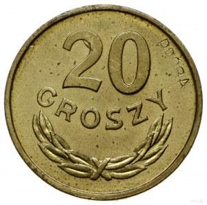 20 groszy 1949, Warszawa; nominał 20, wklęsły napis PRÓ...