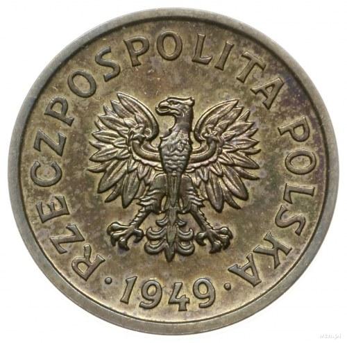10 groszy 1949, Warszawa; nominał 10, wklęsły napis PRÓ...