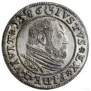 grosz 1586, Królewiec; pod popiersiem księcia znak Pawł...