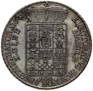 talar 1764 EDC, Drezno; Aw: Popiersie i napis wokoło; R...