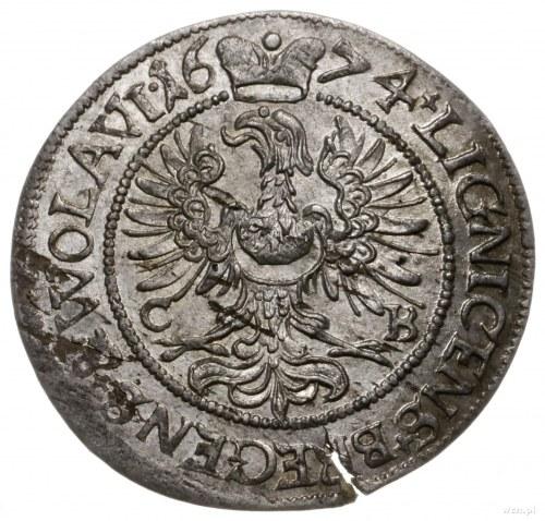 3 krajcary 1674 CB, Brzeg; małe popiersie księcia, na r...