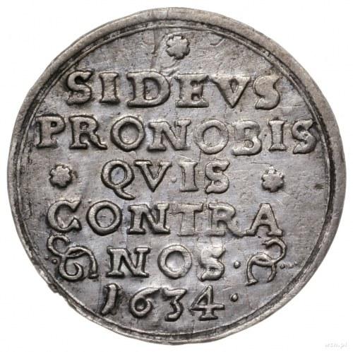 3 krajcary 1634, Wrocław; odmiana z napisem SI DEVS PRO...