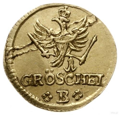 odbitka w złocie 1 greszela 1756 B, Wrocław; Aw: Monogr...