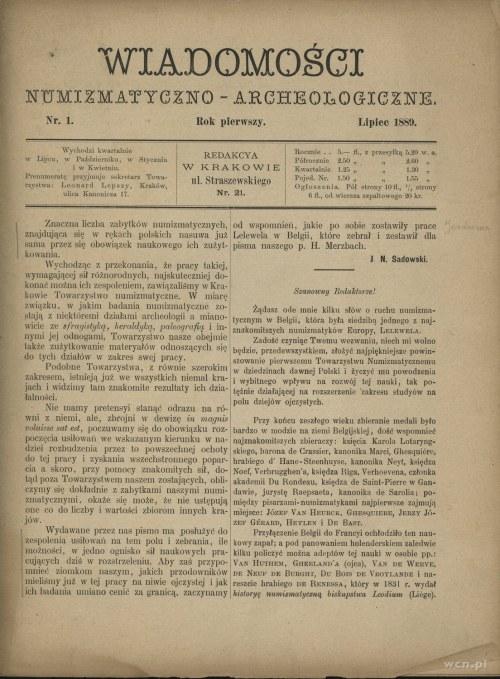 Wiadomości Numizmatyczno-Archeologiczne 1889-1891