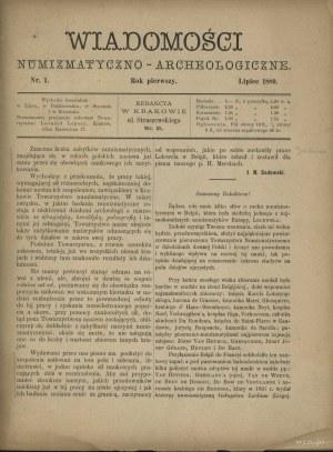 Wiadomości Numizmatyczno-Archeologiczne tom I (1889-189...