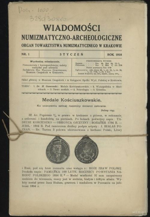 Wiadomości Numizmatyczno-Archeologiczne (1918), Kraków,...
