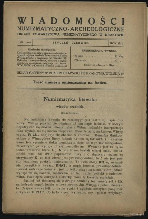Wiadomości Numizmatyczno-Archeologiczne (1921), Kraków,...