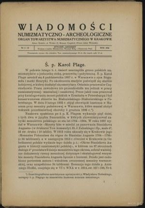 Wiadomości Numizmatyczno-Archeologiczne (1926), Kraków,...
