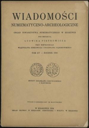 Wiadomości Numizmatyczno-Archeologiczne Tom XV (1933), ...