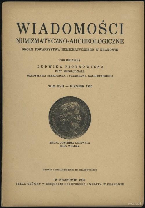 Wiadomości Numizmatyczno-Archeologiczne Tom XVII (1935)...
