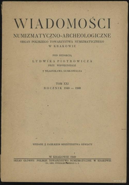 Wiadomości Numizmatyczno-Archeologiczne Tom XXI (1940-1...