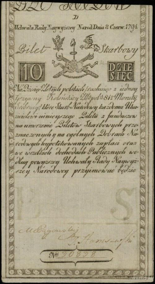 10 złotych polskich 8.06.1794, seria D, numeracja 30838...