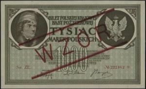 1.000 marek polskich 17.05.1919, czerwony ukośny nadruk...