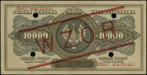 10.000 marek polskich 11.03.1922, czerwony nadruk Bez w...