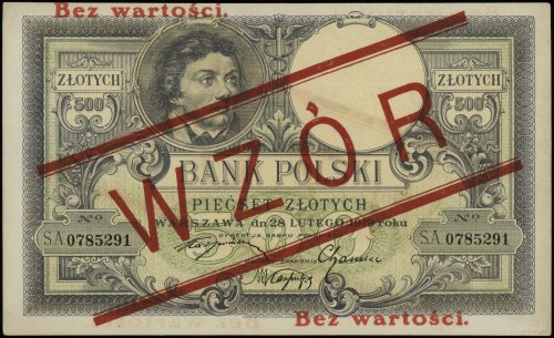 """500 złotych 28.02.1919, czerwony ukośny nadruk """"WZÓR"""" i..."""