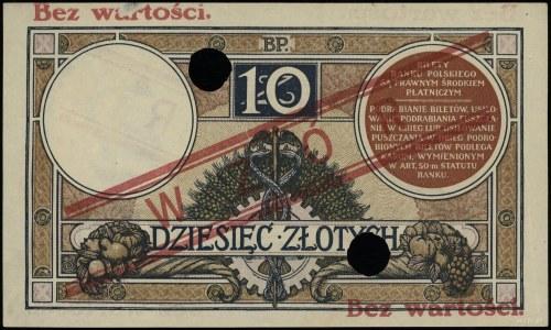 10 złotych 15.07.1924, II emisja, czerwony ukośny nadru...