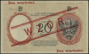 20 złotych 15.07.1924, II emisja, czerwony nadruk Bez w...