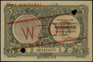 """5 złotych 1.05.1925, czerwony ukośny nadruk """"WZÓR"""" i po..."""