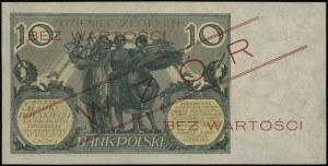 """10 złotych 20.07.1926, czerwony ukośny nadruk """"WZÓR"""" i ..."""