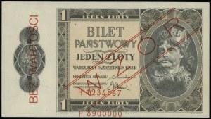 """1 złoty 1.10.1938, czerwony ukośny nadruk """"WZÓR"""" i pion..."""