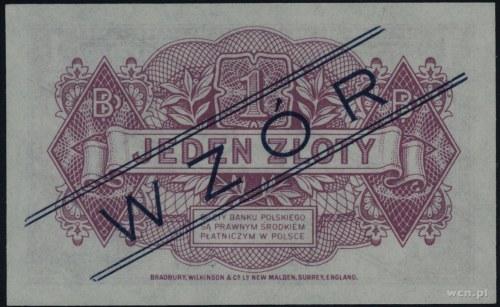 """1 złoty 15.08.1939, granatowy ukośny nadruk """"WZOR"""", bez..."""