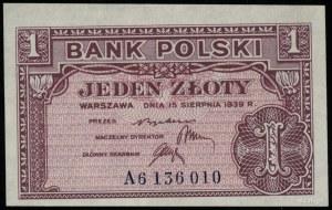 1 złoty 15.08.1939, seria A 6136010; Lucow 1006 (R5), M...