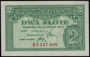 2 złote 15.08.1939, seria B 6147008; Lucow 1011 (R5), M...