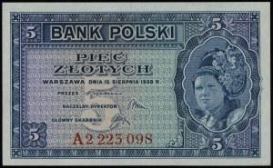 5 złotych 15.08.1939, seria A 2223098; Lucow 1016 (R5),...