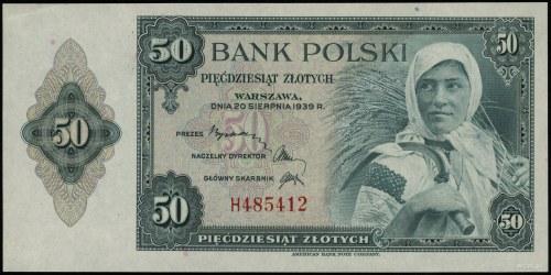 50 złotych 20.08.1939, seria H 485412; Lucow 1064 (R6),...