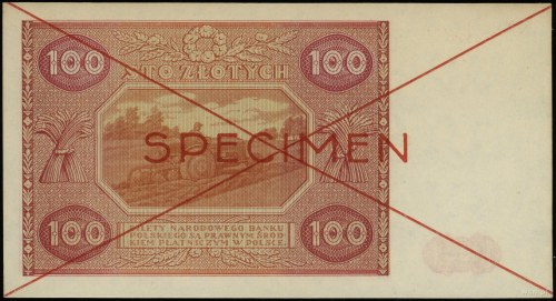 100 złotych 15.05.1946, czerwone dwukrotne przekreśleni...